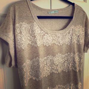 LIKE NEW!! Maurice's Lace & Cream Striped Shirt XL